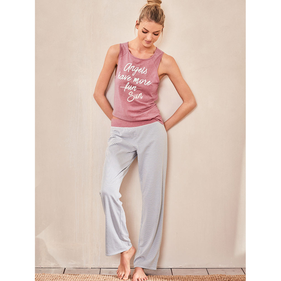 Cheap VICTORIA\'S SECRET Rosey Mauve/ Grey And White Stripe NEW! The Pillowtalk Tank Pajama Online