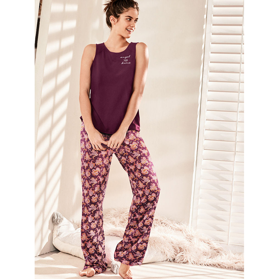Cheap VICTORIA\'S SECRET Ruby Wine/Ruby Wine Paisley NEW! The Pillowtalk Tank Pajama Online