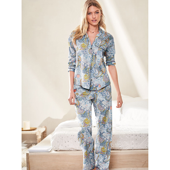 Cheap VICTORIA\'S SECRET Indigo Paisley NEW! The Mayfair Pajama Online