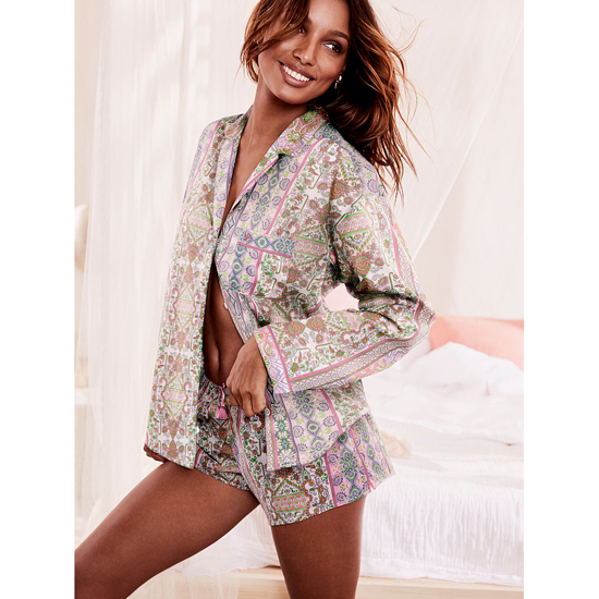 Cheap VICTORIA\'S SECRET Pink Paisley Stripe NEW! The Mayfair Boxer Pajama Online
