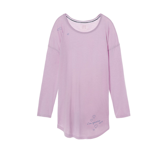 Cheap VICTORIA\'S SECRET Fair Orchid/Yours Graphic NEW! The Angel Long Sleeve Sleep Tee Online