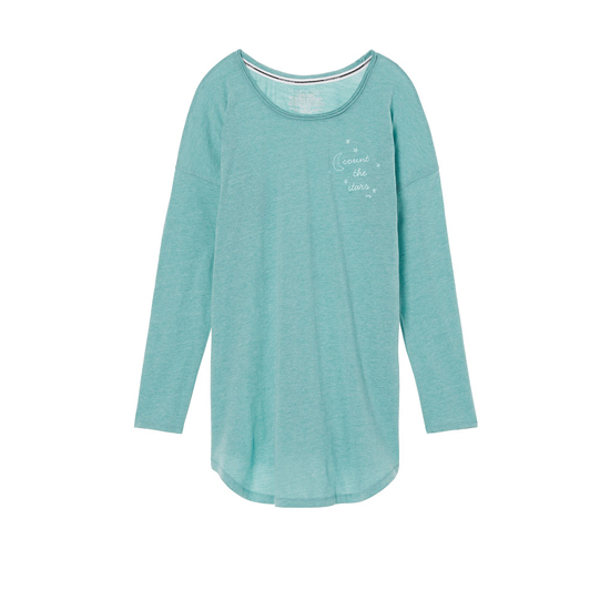 Cheap VICTORIA\'S SECRET Cozumel Teal/Count The Stars Graphic NEW! The Angel Long Sleeve Sleep Tee Online
