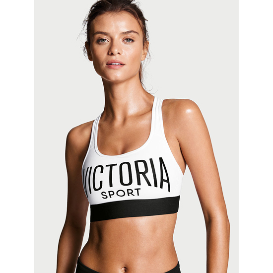 Cheap VICTORIA'S SECRET White/Victoria Sport Logo/Black Waistband NEW! The Player by Victoria Sport Racerback Sport Bra Online