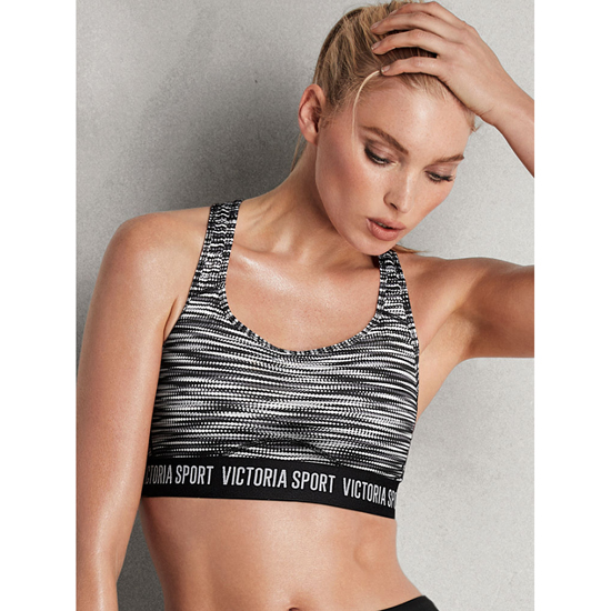 Cheap VICTORIA\'S SECRET Black Dot Marl NEW! The Player by Victoria Sport Racerback Sport Bra Online