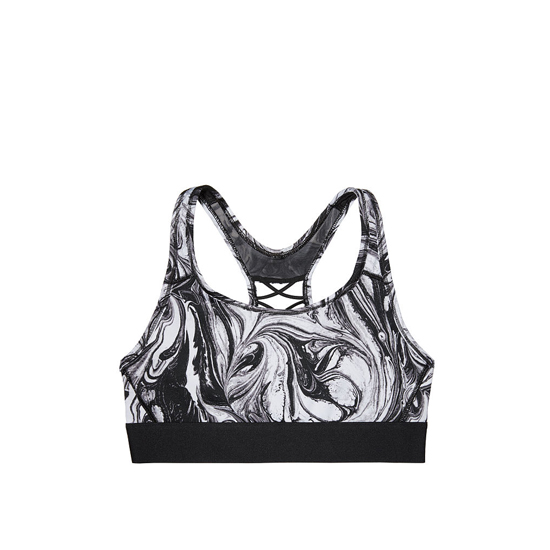 Cheap VICTORIA\'S SECRET Black/White Blended Swirl NEW! The Player Lace-Up Sport Bra Online