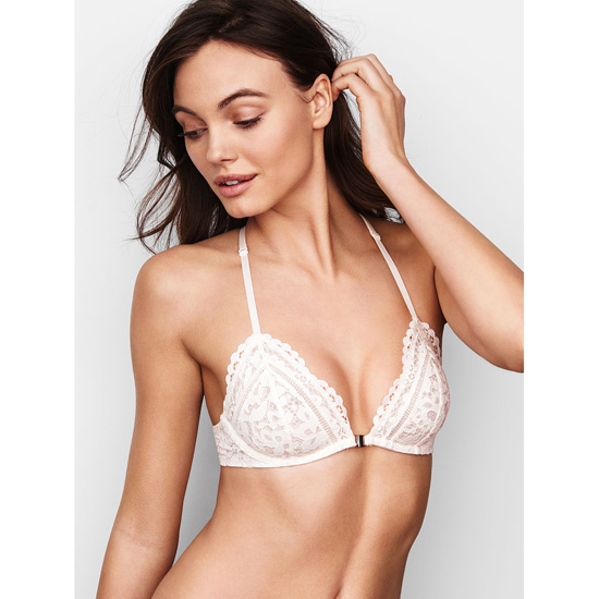 Cheap VICTORIA'S SECRET Coconut White Lace NEW! Front-Close Unlined Bralette Online