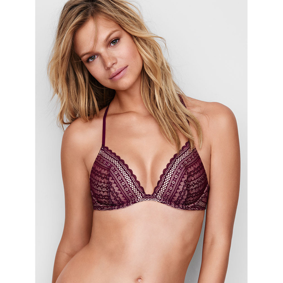 Cheap VICTORIA'S SECRET Ruby Wine Lace Lightly Lined Triangle Bralette Online