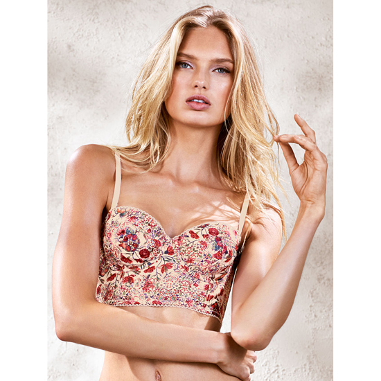 Cheap VICTORIA'S SECRET Satin Boheme Print With Pixie Pink Mini Lace Bustier Online