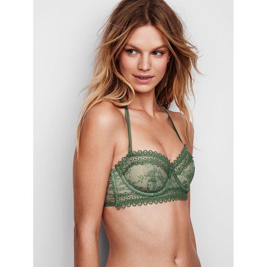 Cheap VICTORIA'S SECRET Cadette Green NEW! Lace & Mesh Unlined Strapless Bra Online