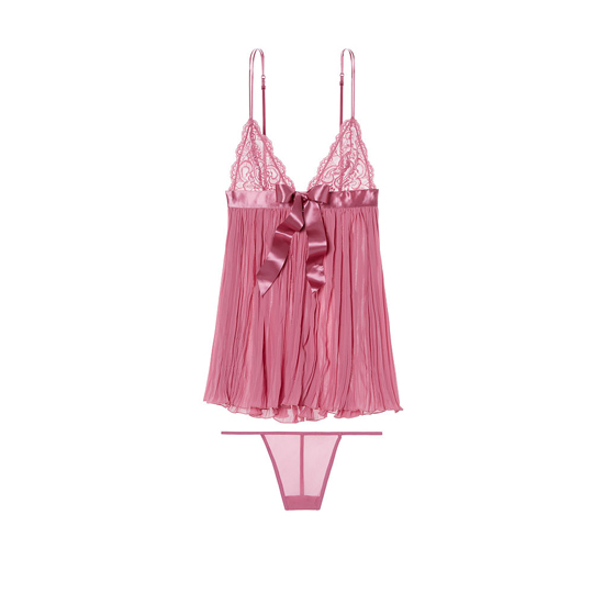Cheap VICTORIA'S SECRET Rosy Mauve Pleated Babydoll Online