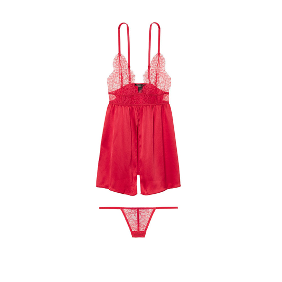 Cheap VICTORIA'S SECRET Bright Cherry Satin & Lace Babydoll Online