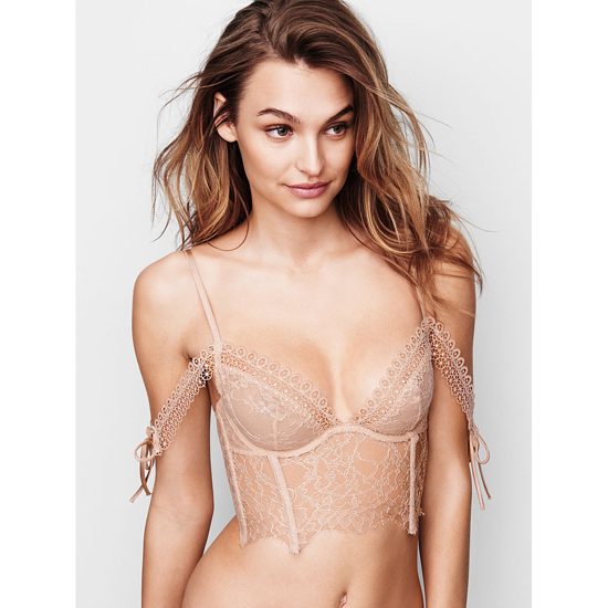 Cheap VICTORIA'S SECRET Champagne NEW! Lace Off-the-Shoulder Bustier Online