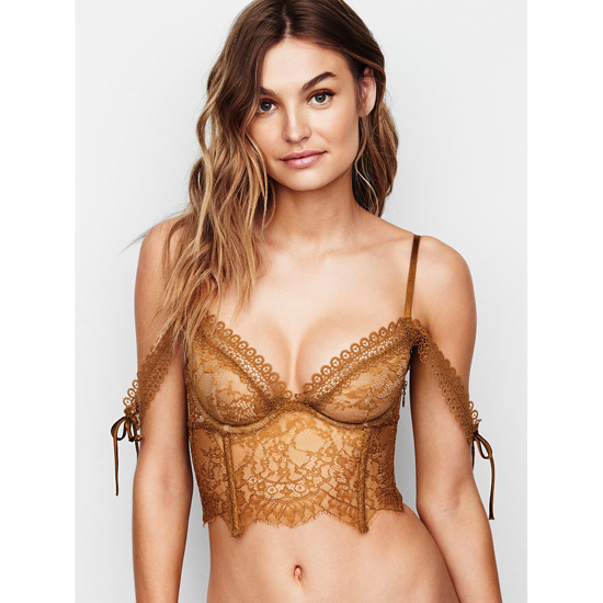 Cheap VICTORIA'S SECRET Bronze Brown NEW! Lace Off-the-Shoulder Bustier Online