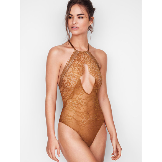 Cheap VICTORIA'S SECRET Bronze Brown NEW! Lace High-neck Bodysui Online