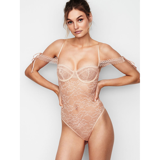 Cheap VICTORIA\'S SECRET Champagne NEW! Lace Off-the-shoulder Bodysuit Online