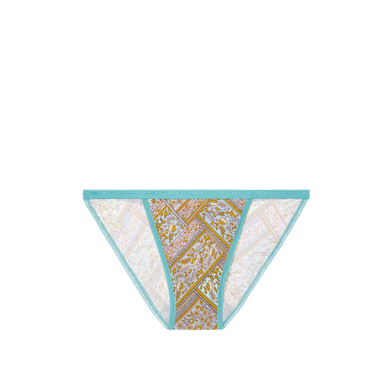 Cheap VICTORIA'S SECRET Blue Floral Patchwork Print String Bikini Panty Online