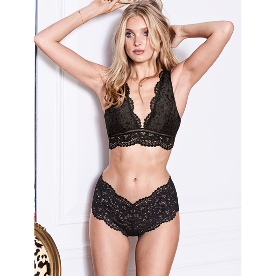 Cheap VICTORIA\'S SECRET Black NEW! The Floral Lace Sexy Shortie Online
