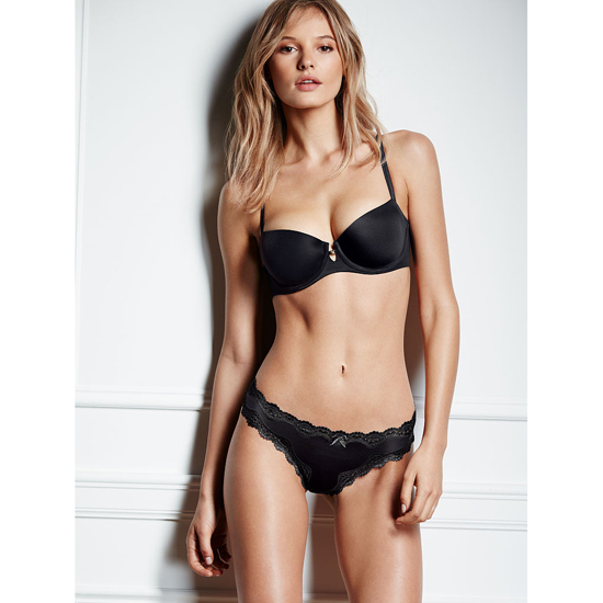 Cheap VICTORIA'S SECRET Black Lace-trim Thong Panty Online
