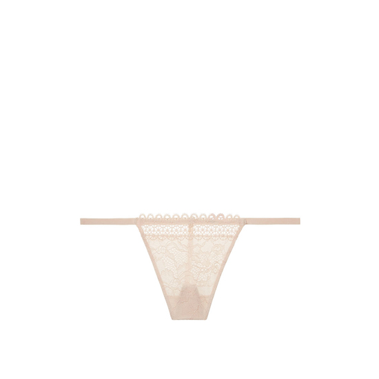 Cheap VICTORIA'S SECRET Champagne NEW! Crochet trim and lace V-string panty Online