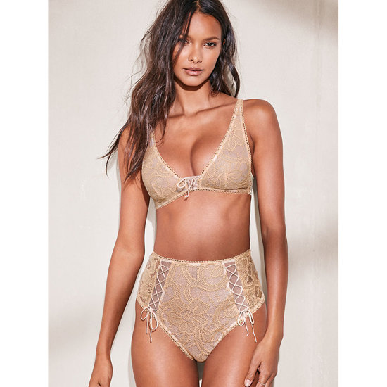 Cheap VICTORIA\'S SECRET Sugar Cookie NEW! Lace High-waist Thong Panty Online