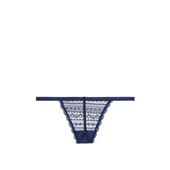 Cheap VICTORIA\'S SECRET Ensign Blue NEW! Lace V-string Panty Online