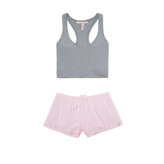 Cheap VICTORIA\'S SECRET Medium Heather Grey/Pink Stripe NEW! The Mayfair Tank & Short Set Online