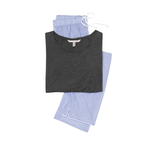 Cheap VICTORIA'S SECRET Black/Indigo Dobby NEW! The Mayfair Tee-jama Online