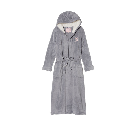 Cheap VICTORIA\'S SECRET Grey Oasis NEW! The Cozy Hooded Long Robe Online