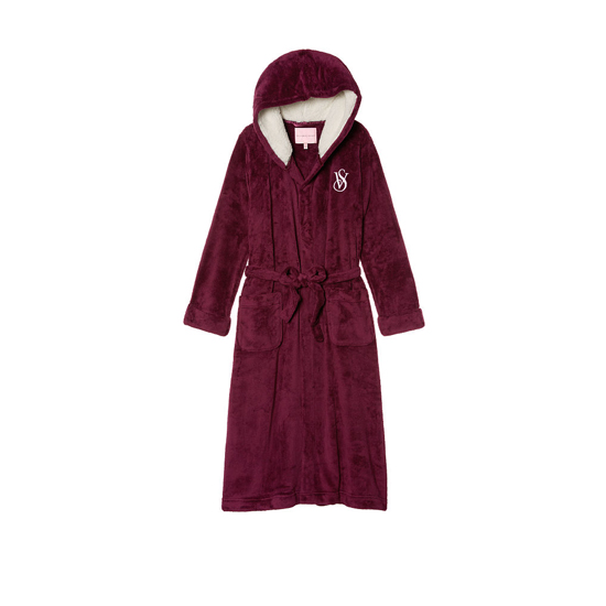 Cheap VICTORIA'S SECRET Ruby Wine NEW! The Cozy Hooded Long Robe Online