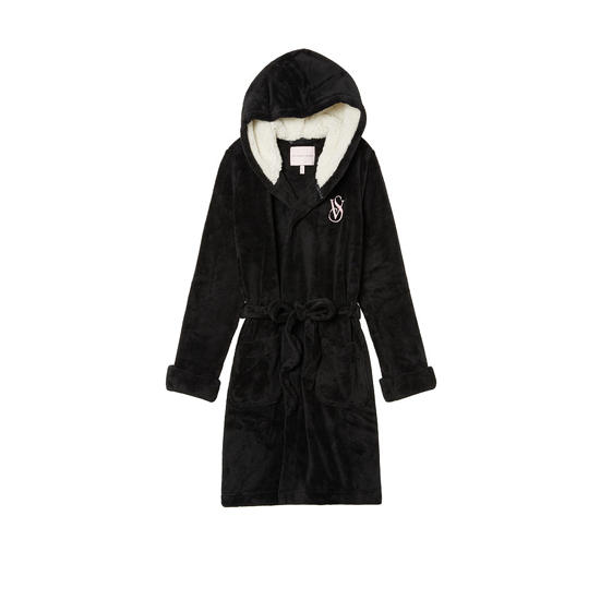 Cheap VICTORIA'S SECRET Black NEW! The Cozy Hooded Short Robe Online