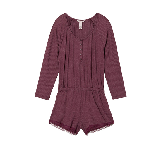 Cheap VICTORIA'S SECRET Ruby Wine NEW! Ribbed Sleep Romper Online