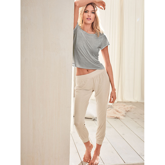 Cheap VICTORIA'S SECRET Casual Oatmeal NEW! Ribbed Sleep Jogger Online