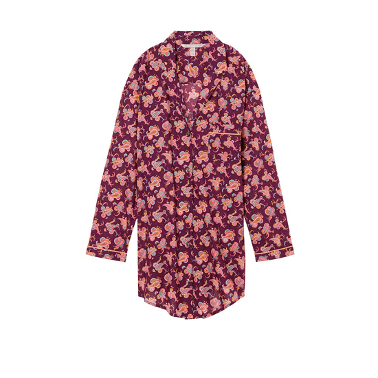 Cheap VICTORIA'S SECRET Ruby Wine Paisley NEW! The Mayfair Sleepshirt Online